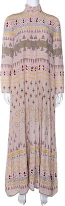 Valentino Pale Pink Geometric Print Silk Crepe Maxi Dress S