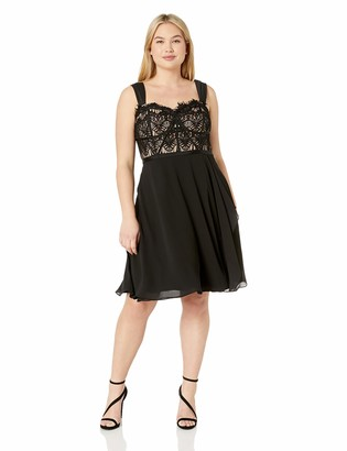 City Chic Women's Apparel Women's Plus Size Formal fit and Flare Dress with lace Bodice