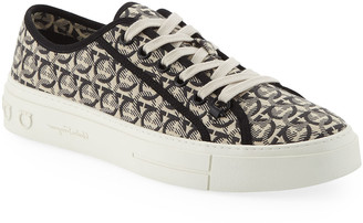 Salvatore Ferragamo Men's Anson Gancini-Print Canvas Low-Top Sneakers