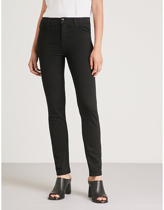 J Brand Ladies Black Cotton Ruby Slim-Fit Cigarette High-Rise Jeans, Size: 23