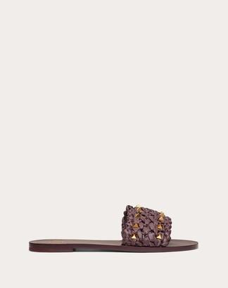 Valentino Rockstud Flair Raffia Flat Slide Sandal Women Rubin Viscose 100% 35