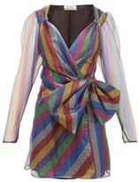 ATTICO The Bow Applique Striped Lurex-mesh Mini Dress - Womens - Multi