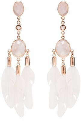 Jacquie Aiche 14kt Rose Gold Diamond And Moonstone Drop Earrings