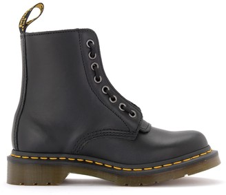 Dr. Martens Pascal Combat Boots In Black Leather With Front Zip