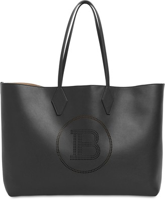 Balmain Embossed Logo Leather Tote