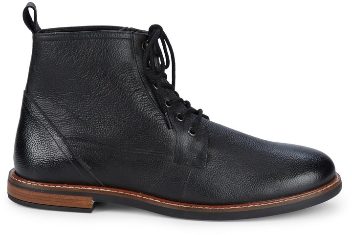 Plain Toe Leather Ankle Boots