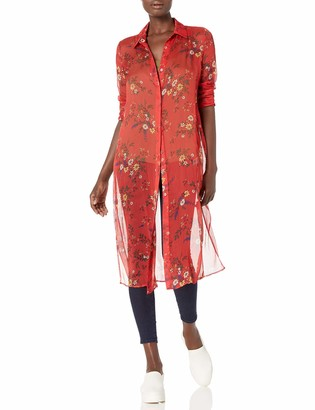 Vince Camuto Women's Long Sleeve Belted Country Bouquet Tunic