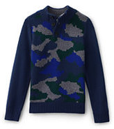Classic Boys Camo Button Mock Neck Sweater-Oatmeal Heather Pattern
