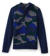 Lands' End Boys Camo Button Mock Neck Sweater-Melon Breeze