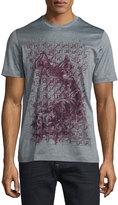 Brioni Short-Sleeve Printed T-Shirt, Black/Gray