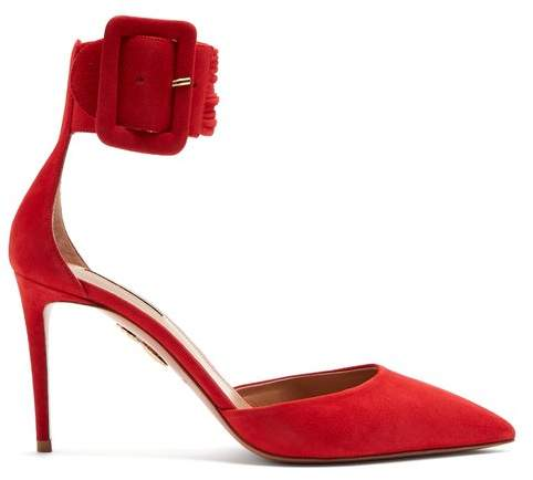 Aquazzura Casablanca 85 Suede Pumps - Womens - Red