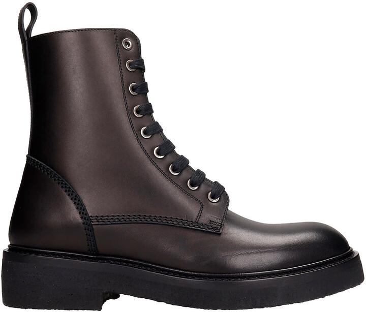 Amiri Combat Boots In Black Leather