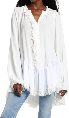 Free People Jeanette Lace Trim Tunic