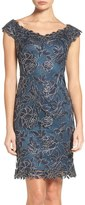 Tadashi Shoji Women's Embroidered Mesh Sheath Dress