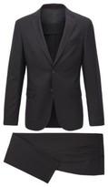 HUGO BOSS - Micro Patterned Slim Fit Suit In Stretch Virgin Wool - Black