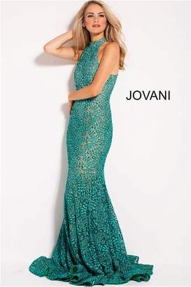 Jovani Teal Lace Gown