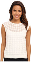 Vince Camuto S/L Crew Neck Burnout Houndstooth Sweater