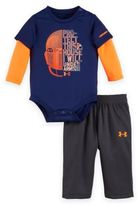 "Under Armour 2-Piece ""Protect This House"" Bodysuit and Pant Set in Navy/Orange"