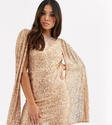 TFNC Petite sequin mini dress with pleated sleeve drama in rose gold