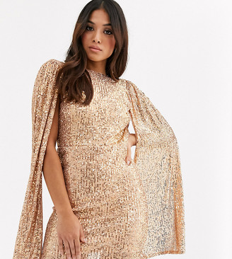 TFNC Petite Petite sequin mini dress with pleated sleeve drama in rose gold