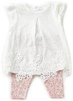 Starting Out Baby Girls 3-24 Months Short-Sleeve Crochet Top & Floral Leggings Set