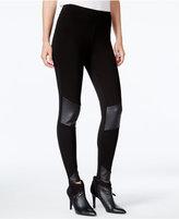 Kensie Faux-Leather-Inset Leggings