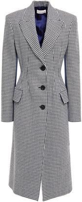 Alexander McQueen Paneled Satin And Houndstooth Wool Coat