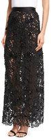 Johanna Ortiz Cana Lace High-Waist Maxi Skirt, Black