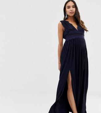 ASOS DESIGN Maternity Premium Lace Insert Pleated Maxi Dress