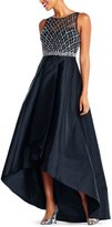 Adrianna Papell Beaded Bodice Hi Lo Gown