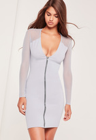 Missguided Zip Front Mesh Sleeve Bodycon Dress Ice Grey