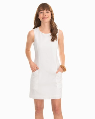 Southern Tide Paislee White Seersucker Shift Dress