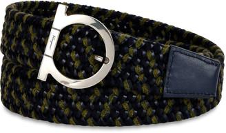 Salvatore Ferragamo Men's Woven Fabric & Leather Gancio Belt