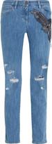 Roberto Cavalli Distressed embellished silk-appliquéd mid-rise straight-leg jeans