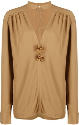 Victoria Beckham V-Neck Embellished Tunic Top