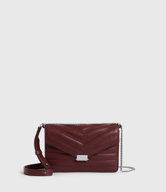 AllSaints Justine Small Leather Flap Crossbody Bag