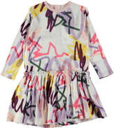 Molo Candis Long-Sleeve Jersey Graffiti Dress, Gray/Multicolor, Size 3T-12