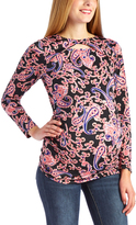 Glam Black & Coral Paisley Twist-Cutout Maternity Long-Sleeve Top