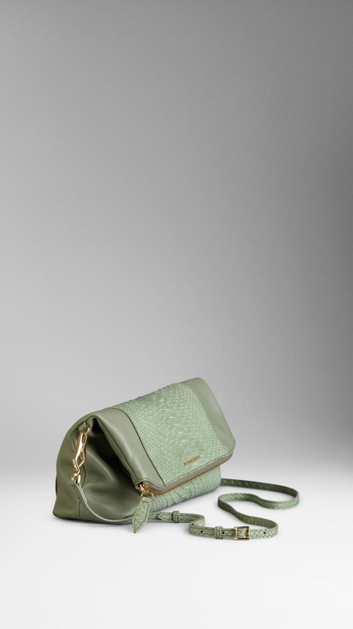 Burberry Medium Python and Leather Folded Clutch