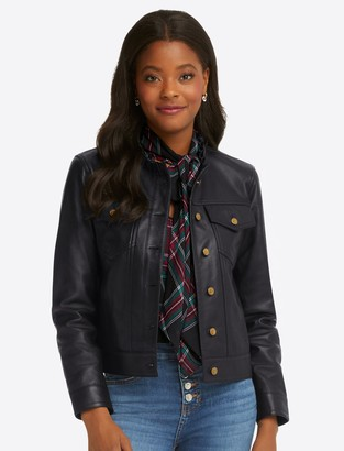 Draper James Ruffle Neck Leather Jacket