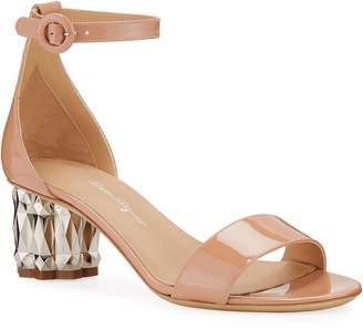 Salvatore Ferragamo Azalea 55 Patent Leather Metallic-Heel Sandals
