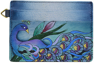 Anuschka Anna By Anna by Women's Wallets Midnight - Gray & Midnight Peacock Hand-Painted Leather Credit Card Holder