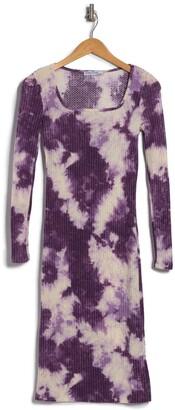 Velvet Torch Square Neck Tie Dye Ribbed Knit Dress
