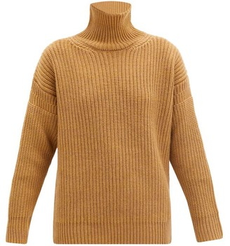 Marni Roll-neck Ribbed Wool Sweater - Camel