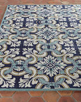 Horchow Paige Floral Tile Indoor/Outdoor Rug, 5' x 7'6""