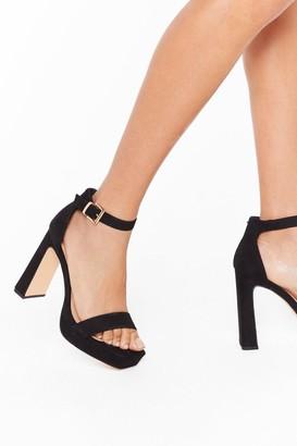 Nasty Gal Womens Full Exposure Faux Suede Flare Heels - Black