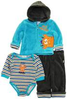 Duck Duck Goose Duck Goose Baby Boys Cute Silly Monster Sherpa Jacket Bodysuit 3Pc Pant Set, Blue, 6/9 Months