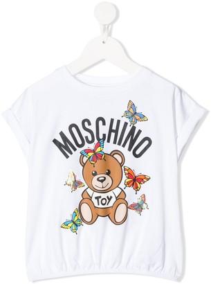MOSCHINO BAMBINO bear logo print elasticated waist T-shirt