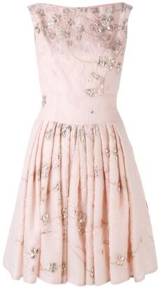 Talbot Runhof Floral Pleated Dress