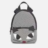 Lulu Guinness Women's Stripe Kooky Cat Small Backpack Black White